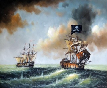 Battles Art Painting - pirate fighting on sea battleships