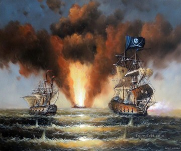 battleship warship war ship Painting - pirate war ship