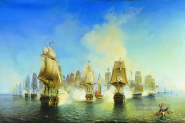 battleship warship war ship Painting - the battle of athos 1853 Alexey Bogolyubov warships naval warfare