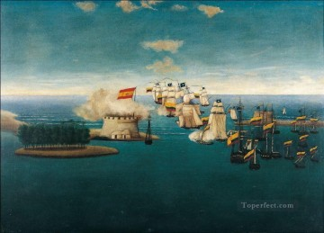 Warship Painting - Accion del castillo de Maracaibo Naval Battle