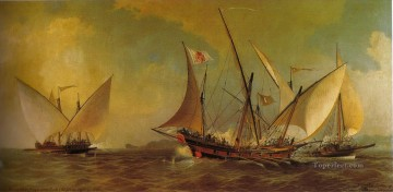 Antonio barcelo 1738 Naval Battle Oil Paintings