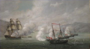 Battle of Alvoen by Johan Christian Claussen Naval Battle Oil Paintings