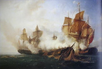 Combat de la Pomone Naval Battles Oil Paintings
