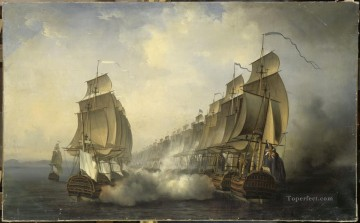 Combat naval en rade de Gondelour 1783 Naval Battles Oil Paintings