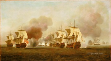 End of Knowles action off Havana 1748 Naval Battles Oil Paintings