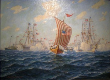 Hjalmar Johnssen Viking Andommer Chicago Naval Battles Oil Paintings