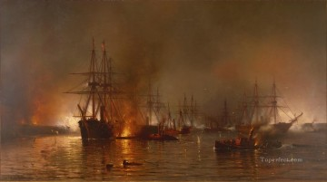 Mauritz de Haas Farragut s Fleet passing the Forts below New Orleans Naval Battles Oil Paintings