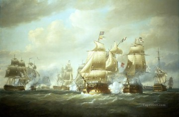 Warship Painting - Nicholas Pocock Duckworth s Action off San Domingo 6 February 1806 Naval Battles