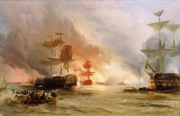 battleship warship war ship Painting - The Bombardment of Algiers 1816 by George Chambers Senior warships