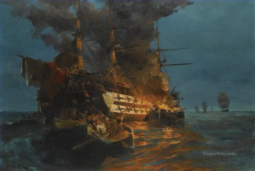 Battles Art Painting - The burning of a Turkish frigate by Konstantinos Volanakis Naval Battles