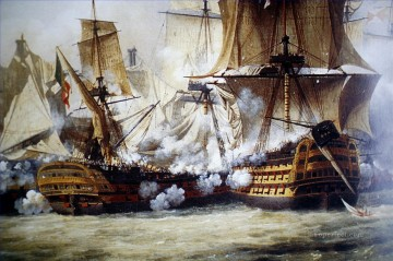 battleship warship war ship Painting - Trafalgar Crepin naval war warships