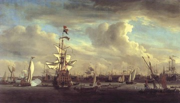 battleship warship war ship Painting - Willem van de Velde The Gouden Leeuw before Amsterdam warships sea warfare