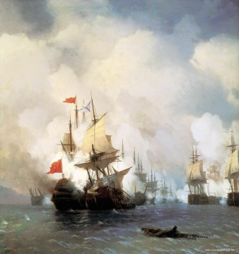 Warship Painting - aivazovskiy battle in hiosskiy strait 1848