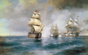aivazovskiy brig mercury 1892 battleships Oil Paintings
