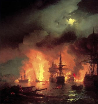 battleship warship war ship Painting - aivazovskiy chesmenskiy bat warships