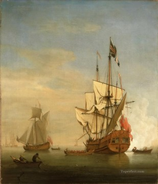 an english sixth rate ship firing a salute as a barge leaves a royal yacht nearby Oil Paintings