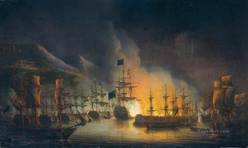 battleship warship war ship Painting - bombardment of algiers warships
