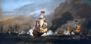 sea battle black Oil Paintings