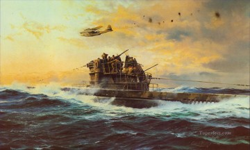 battleship warship war ship Painting - sea fight against all odds warships