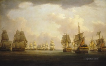 Battle of Cape Finisterre Naval Battles Oil Paintings