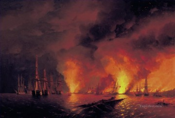 Battle of Sinop Naval Battles Oil Paintings