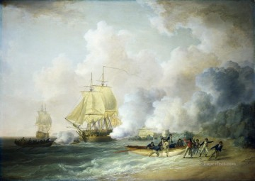 Warship Painting - Capture of Fort Louis Martinique 1794 Naval Battles