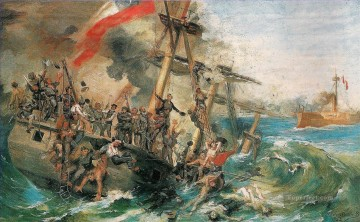 Combate Naval de Iquique Nicolas Guzman Naval Battles Oil Paintings