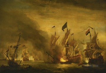 De Velde Battle Of Solebay Naval Battles Oil Paintings