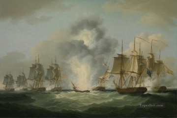 Warship Painting - Four frigates capturing Spanish treasure ships 1804 by Francis Sartorius Naval Battles