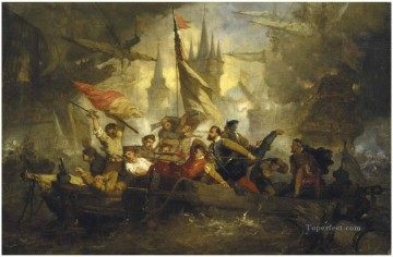 Hendrik Frans Schaefels Naval battle scene Naval Battles Oil Paintings