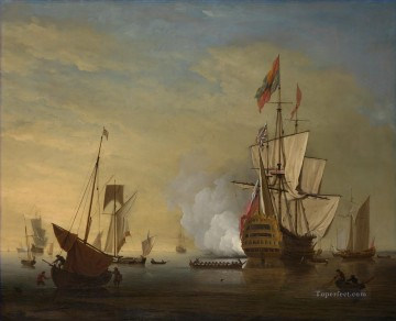 Peter Monamy attrib Harbor scene An English ship with sails loosened firing a gun Naval Battles Oil Paintings
