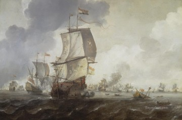 Warship Painting - Reinier Nooms A Battle of the First Dutch War Naval Battles
