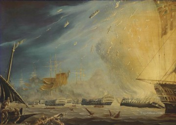 Warship Painting - Robert Dodd circle The Battle of the Nile 1st August 1798 Naval Battles