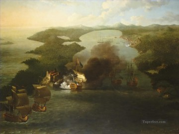 Samuel Scott 2 Naval Battles Oil Paintings
