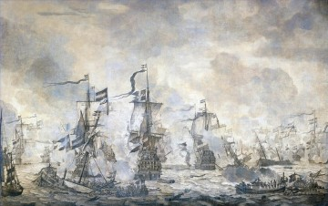 Slag in de Sont Battle of the Sound November 8 1658 Willem van de Velde I 1665 Sea Warfare Oil Paintings