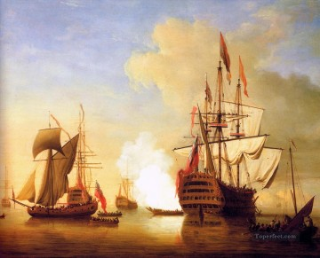 Stern View of the Royal Wil war ships Oil Paintings