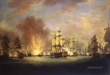 Battles Art Painting - The Moonlight Battle off Cape St Vincent 16 January 1780 Naval Battles