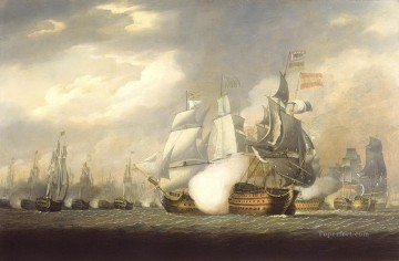 Warship Painting - The Victory Raking the Spanish Salvador del Mundo at the Battle of Cape St Vincent 1797 Naval Battles