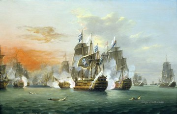 Battles Art Painting - Thomas Luny The Battle of The Saints Naval Battles