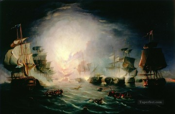 Warship Painting - Thomas Serres circle of Battle of the Nile 1798 Naval Battles