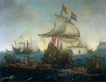 dutch ship running down spanish gallyes Oil Paintings