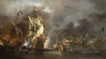 naval battle of ships Oil Paintings