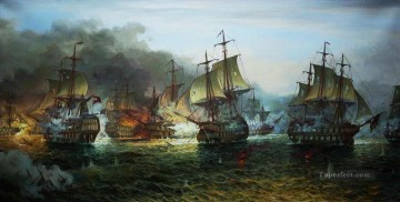 battleship warship war ship Painting - sea fight warships