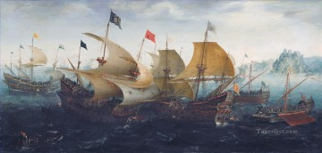Aert Anthonisz The battle of Cadix 1608 Naval Battles Oil Paintings