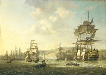 battleship warship war ship Painting - Anglo Dutch fleet in the bay of Algiers 1816 war ships