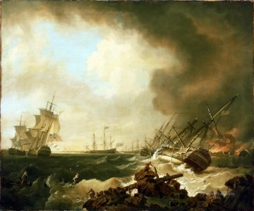 Bataille Cardinaux Naval Battles Oil Paintings