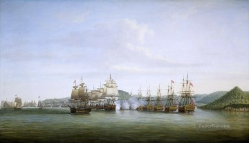 Warship Painting - Bataille de Sainte Lucie entre d Estaing et Barrington 1778 Naval Battles