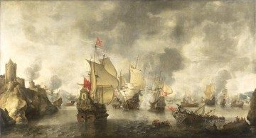 Warship Painting - Battle of the combined Venetian and Dutch fleets against the Turks in the Bay of Foja 1649 Abraham Beerstratenm 1656