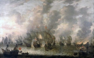 Beerstraaten Battle of Scheveningen Naval Battles Oil Paintings
