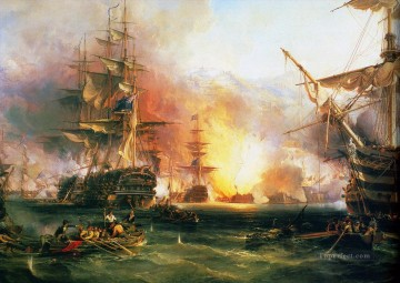 battleship warship war ship Painting - Bombardment of Algiers 1816 by Chambers war ships